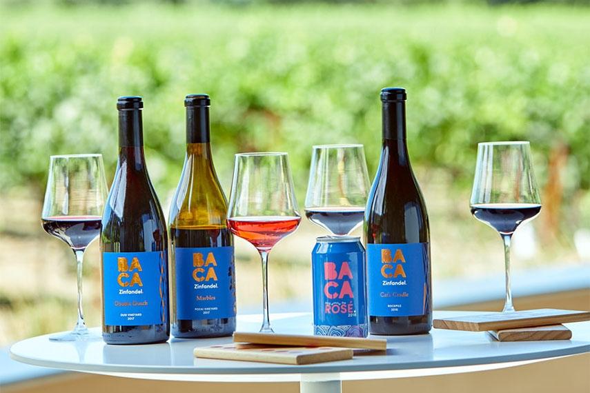 BACA Zinfandel bottles and wine glasses overlooking a dry creek vineyard in Healdsburg