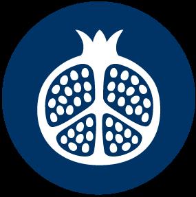 Blue Icon of a Pomegranate