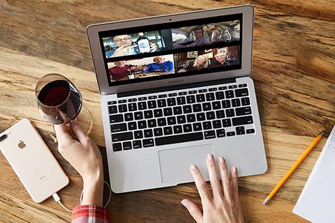Bespoke Tasting laptop, phone and red wine image