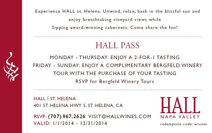 HALL Wines Wine Tasting Pass