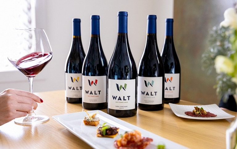 Root 101 Experience with WALT Pinot Noir Bottles & glass being swirled image
