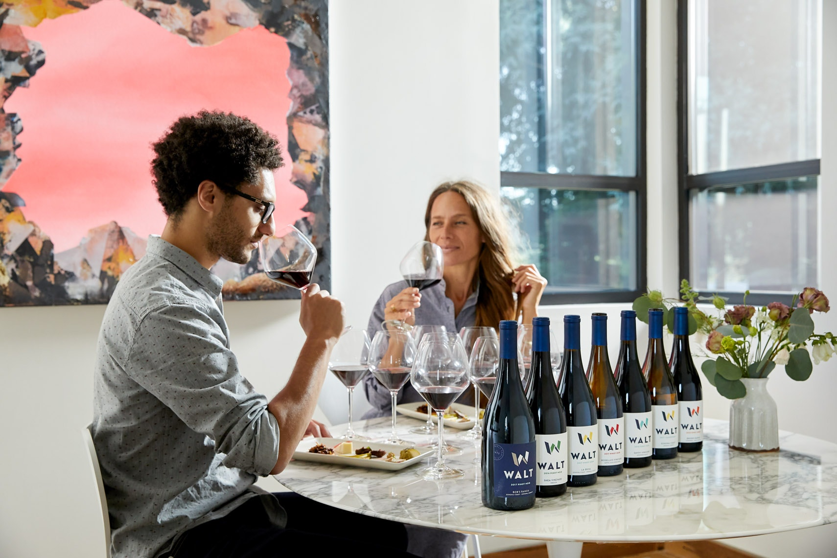 ROOT 101 Wine Tasting with a flight of pinot noir wines in Healdsburg